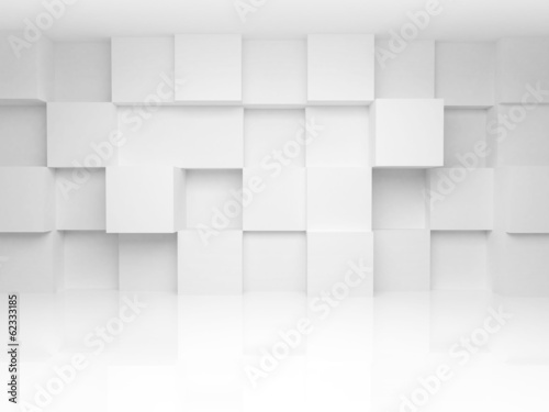 Abstract 3d architecture background with white cubes on the wall © evannovostro