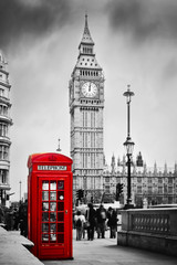 FototapetaRed telephone booth and Big Ben in London, England, the UK.
