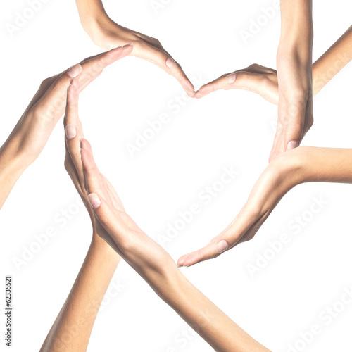 Fototapeta Human hands in heart shape isolated on white background obraz na płótnie
