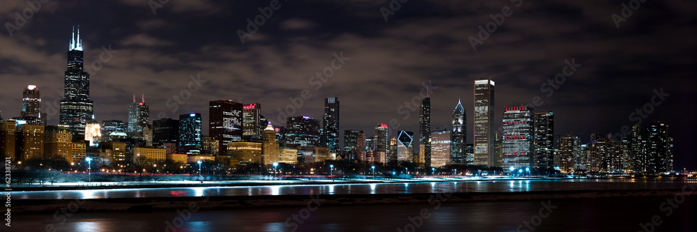 Fototapeta Chicago Night Skyline