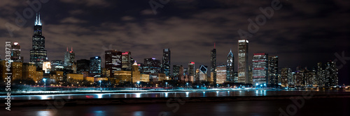 Photo  Chicago Night Skyline