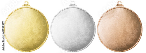 Fototapeta Gold, silver and bronze blank medals set isolated with clipping