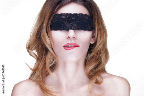 Fotografie, Obraz  Beautiful Woman in Black Lace