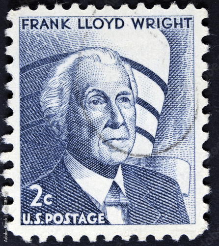 sStamp printed in the USA, shows a Frank Lloyd Wright Canvas Print