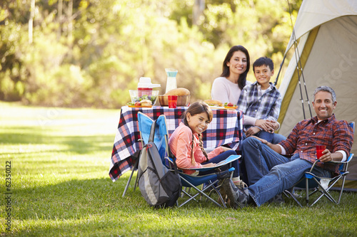Poster Camping Family Enjoying Camping Holiday In Countryside