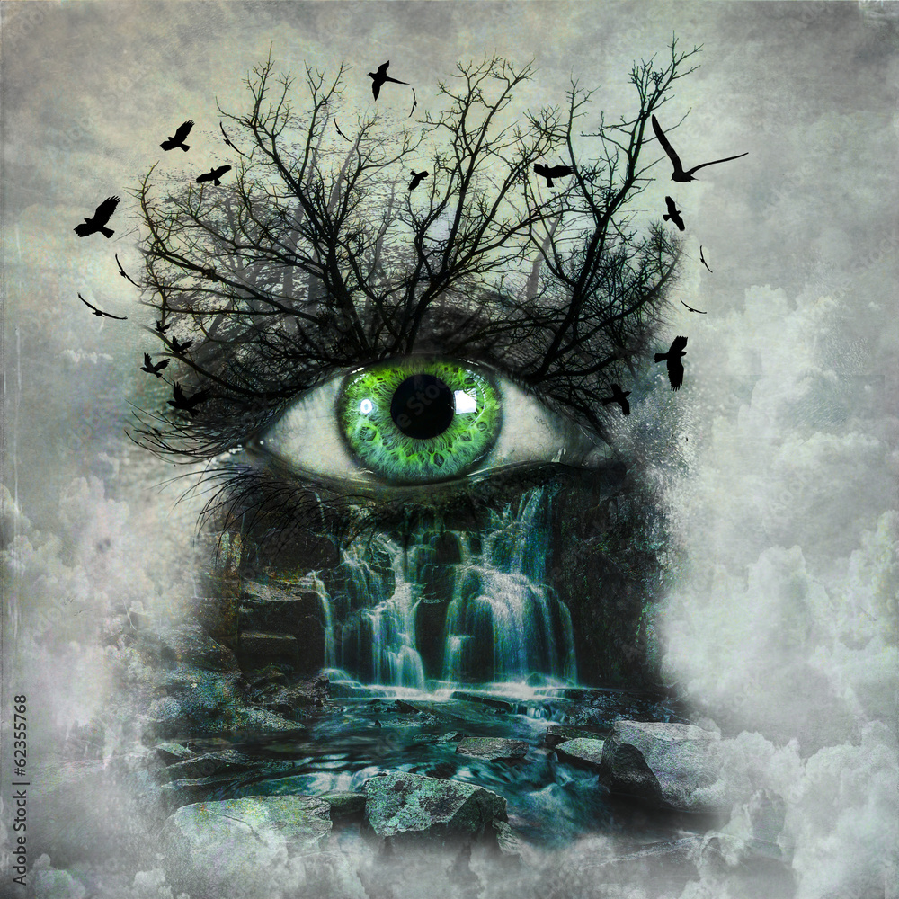 Dark Abstract Nature Painted On Female Face Foto Poster