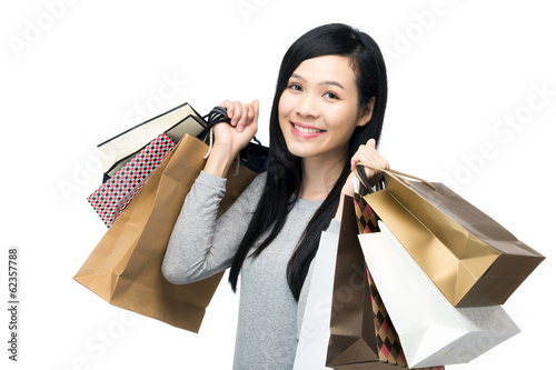 Fotografie, Obraz  Asia woman with lots of shopping bag