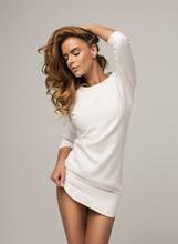 Beautiful Model Wearing White Dress