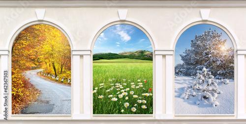Fotografie, Tablou  Windows of seasons