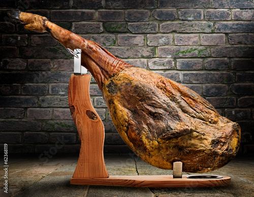 Photo  Iberian ham isolated