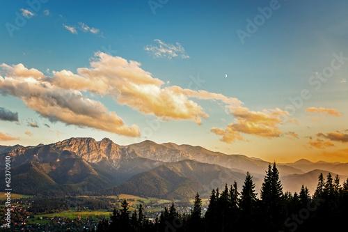 View on panorama of Tatras at sunset, Poland.