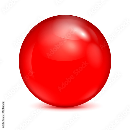 Fotografia, Obraz  red glass bowl isolated on white background.shiny sphere.vector