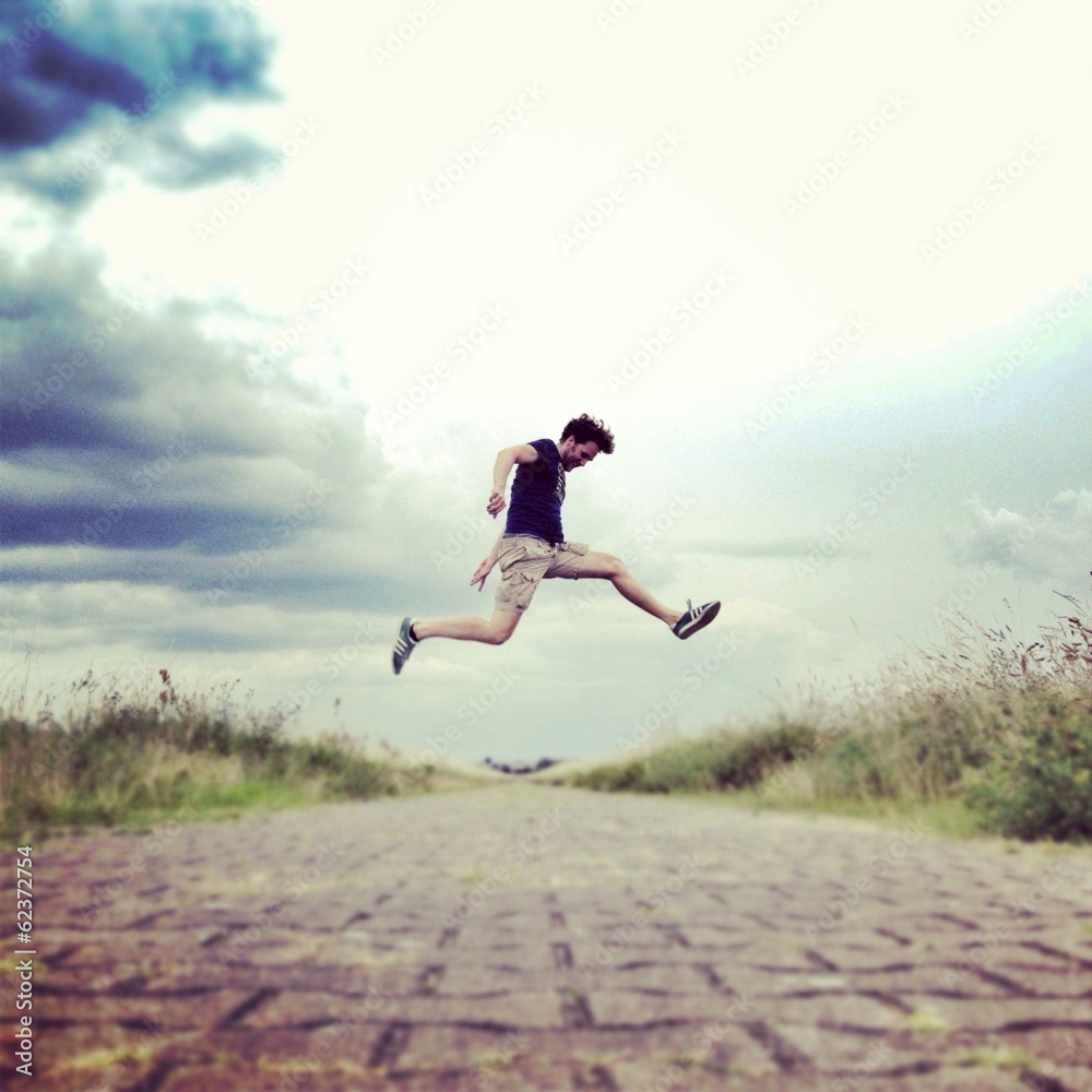 Fotografie, Obraz  man jumping