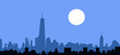 New York Skyline at Night - Vector