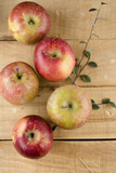 Real Apples, on wooden background