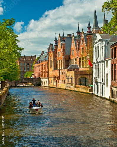 Poster Brugge Houses along the canals of Brugge or Bruges, Belgium