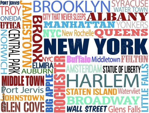 Photo  Collage with various words with New York