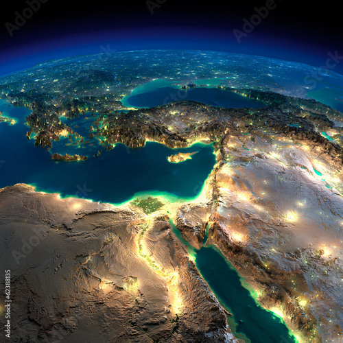 Fotografie, Tablou  Night Earth. Africa and Middle East