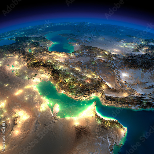 Fotografie, Obraz  Night Earth. Persian Gulf
