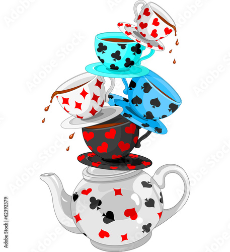 Printed kitchen splashbacks Fairytale World Wonder Tea Party pyramid