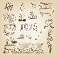 Vintage Hand Drawn Toys