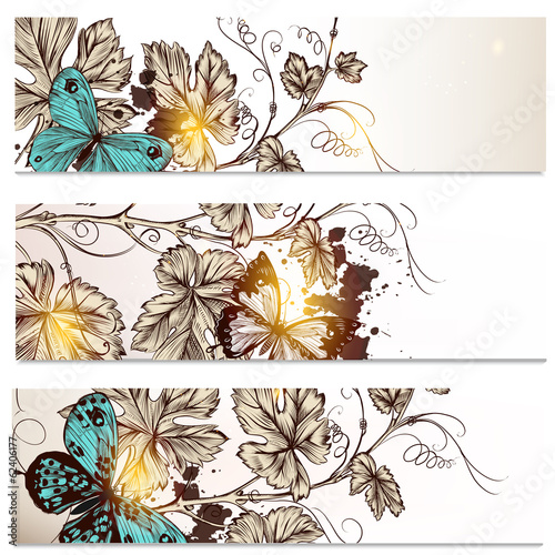 Fotobehang Vlinders in Grunge Business cards set in floral style for design