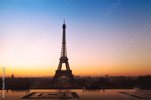 beautiful panoramic view on Eiffel tower in Paris, France