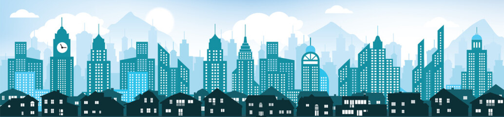 Panel Szklany Blue cityscape background