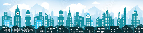 Blue cityscape background