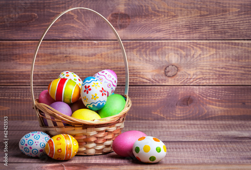 Photo  Easter eggs in the basket