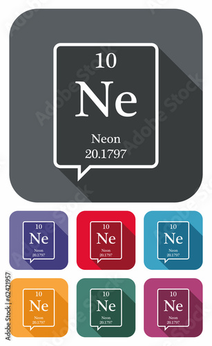 Neon Symbol From Periodic Table On Colored Flat Icons Buy This