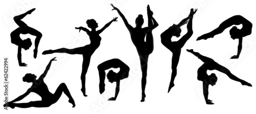silhouette gymnast dancer, set of ballerina female flexible pose Wallpaper Mural