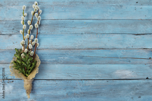Fotografie, Obraz pussy willow twigs on wood background