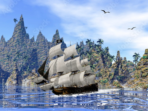 In de dag Schip Pirate ship on the coast - 3D render