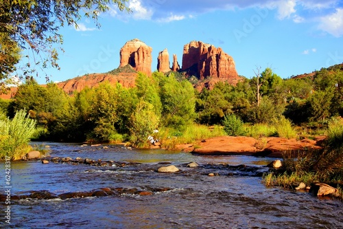 View of Cathedral Rock and river at dusk, Sedona, Arizona, USA