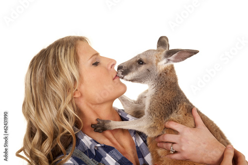 Spoed Fotobehang Kangoeroe woman overalls kangaroo kiss close
