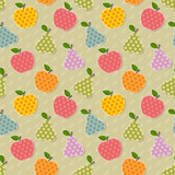 Seamless colorful apple and pear pattern