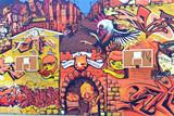Fototapeta Młodzieżowe - Great graffiti wall with red basketball boards in Belgrade