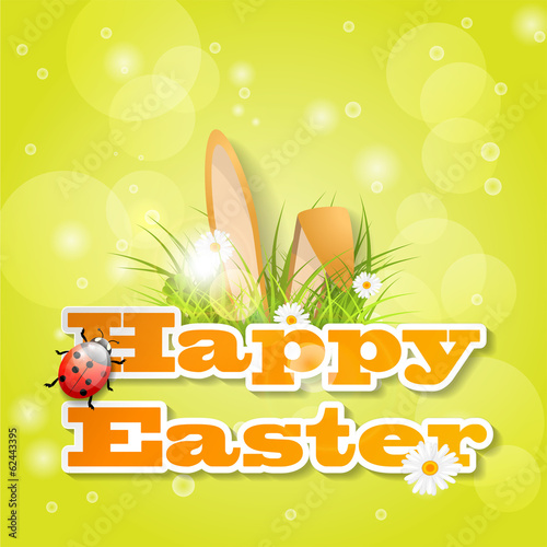 Words happy easter with fresh grass ears of bunny and a ladybug words happy easter with fresh grass ears of bunny and a ladybug m4hsunfo