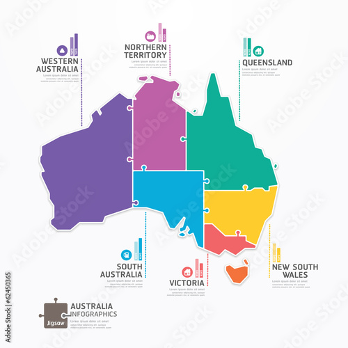 Photo  Australia Map Infographic Template jigsaw concept banner. vector
