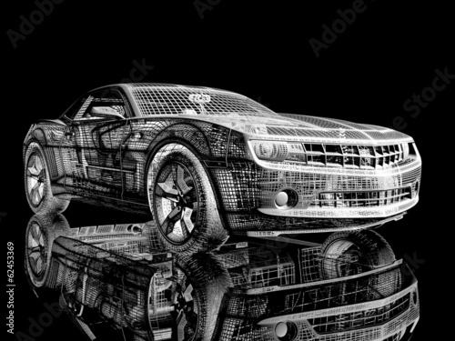 Naklejka premium Samochód z drutu