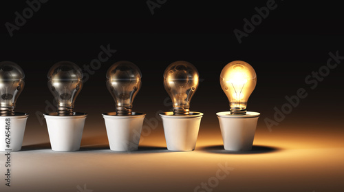 Row Of Light Bulbs In Vases Buy This Stock Illustration And