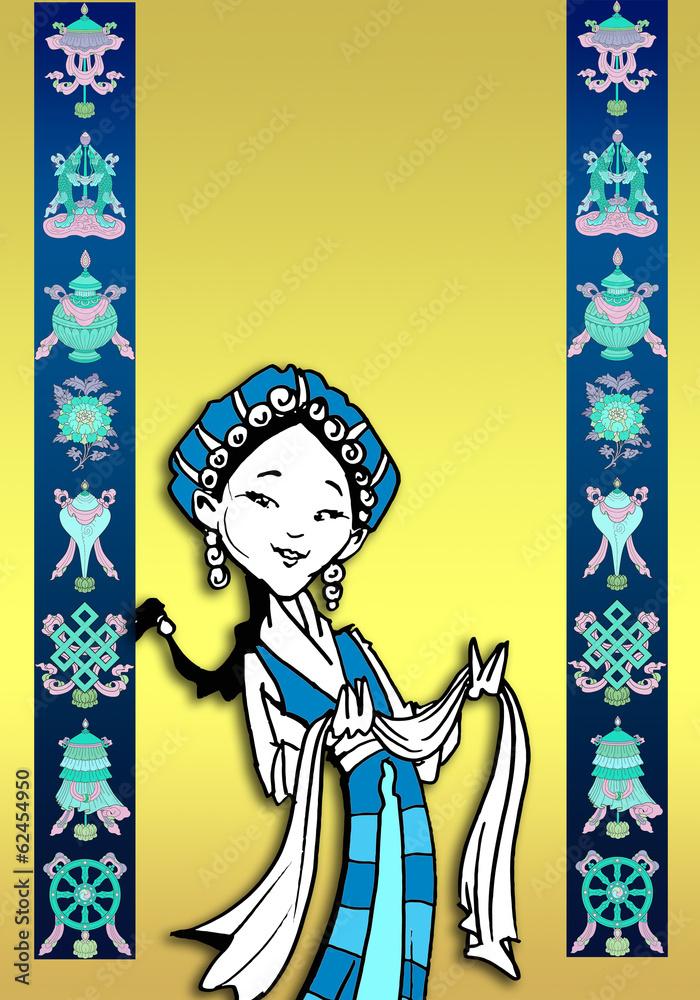 funny Tibetan girl/illustration with auspicious symbols Foto, Poster ...