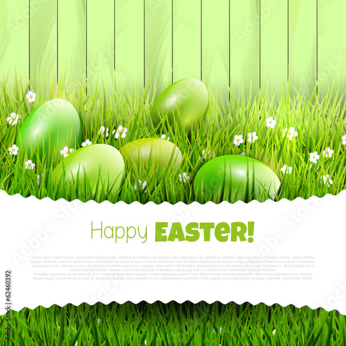 Photo  Green Easter background with copyspace
