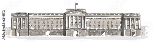 Obraz na plátně Buckingham Palace line art