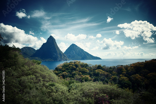 Photo Stands Green blue Panorama of Pitons at Saint Lucia, Caribbean