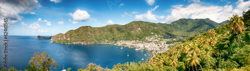 Foto op Plexiglas Caraïben Panoramic view on seashore in Soufriere, Saint Lucia, Caribbean