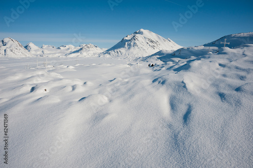 Winter snowy landscape of Kulusuk, small village in Greenland.
