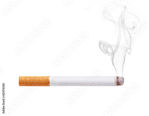 Vászonkép  Smoking cigarette isolated on white background