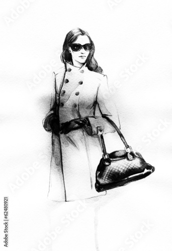 Poster Portrait Aquarelle woman in coat. Hand painted fashion illustration